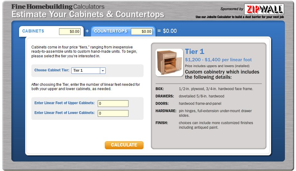 Estimate Your Cabinets and Countertops